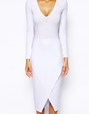 ASOS Plunge Midi Asymmetric Dress at asos.com