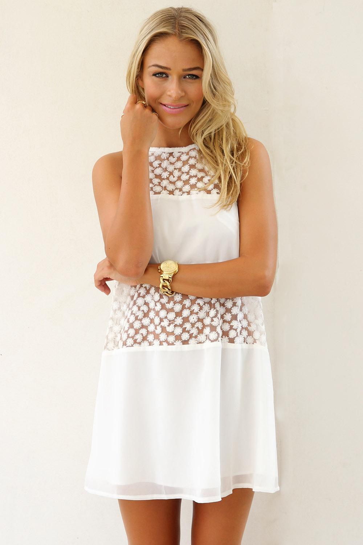 White Mini Dress - White Sleeveless Tank Dress with | UsTrendy