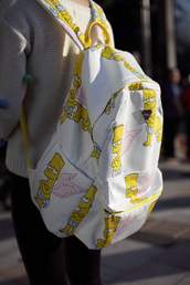 bag,backpack,bart simpson,the simpsons,white,yellow,wings,back to school,pink,bookbag,the simpson's,grunge,pastel grunge,cupid,thesimpsons,cute