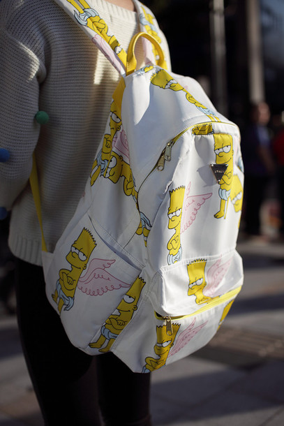 bag backpack backpack bart simpson the simpsons white yellow wings bart simpson back to school pink pink wings bookbag the simpsons back to school the simpson's the simpsons angel grunge pastel grunge 517622 angels wings cupid thesimpsons style swag cool printed backpack cute