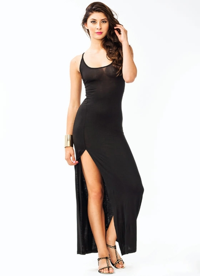 Gj Crisscross Slit Maxi Dress 2290 In Black Hgrey Red