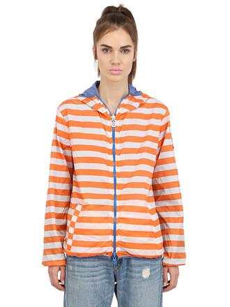 jacket windbreaker white blue orange