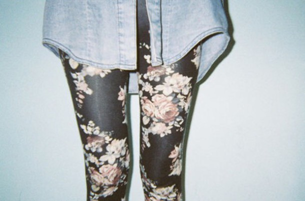 leggings floral black