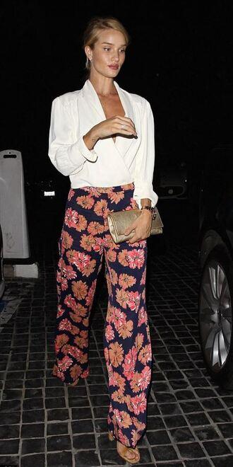 pants blouse floral sandals rosie huntington-whiteley shoes
