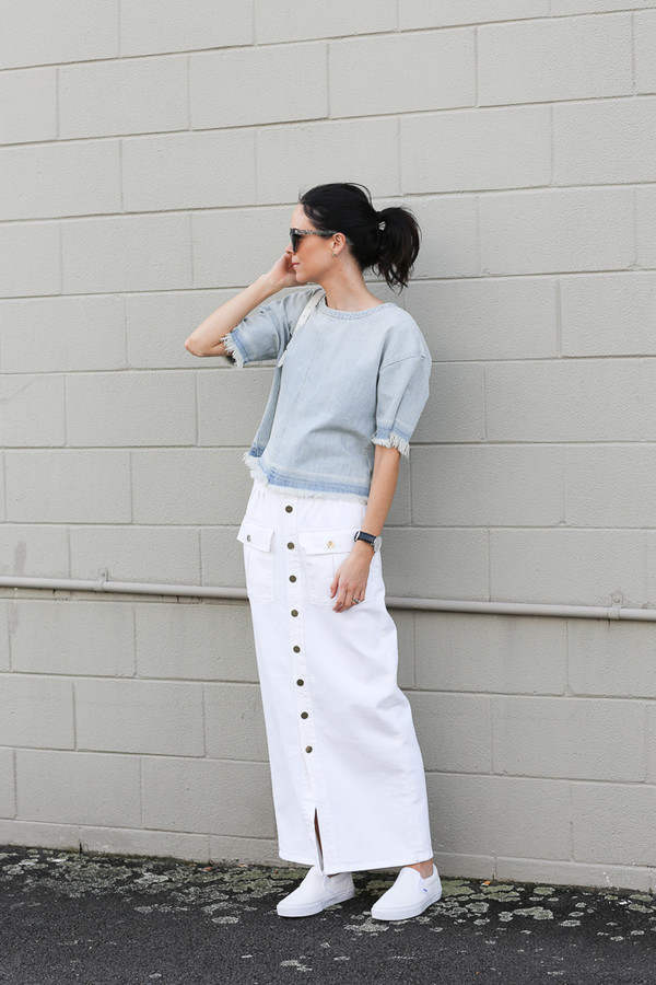 skirt, white skirt, long skirt, button up, button up denim ...