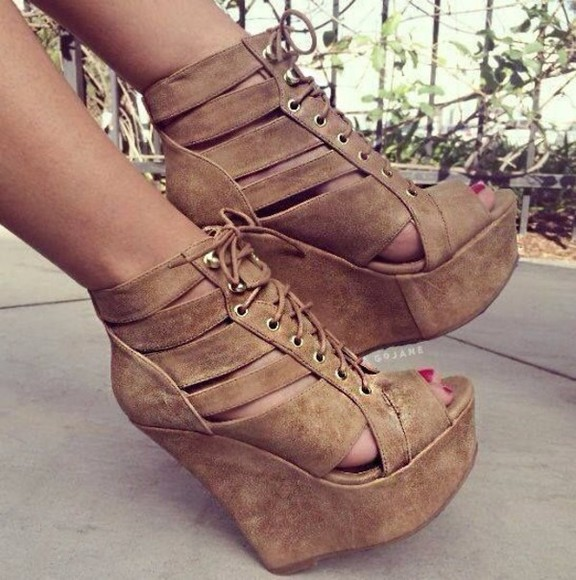 shoes wedges beige high heels lace-up boots