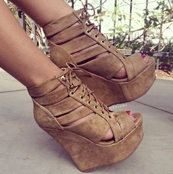 shoes beige high heels wedges lace up boots bag heels high heels tan cute summer suede ties