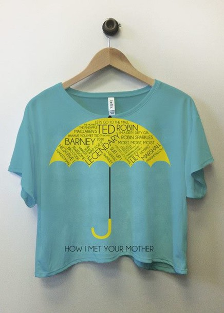 Shirt Crop Tops Light Blue Yellow How I Met Your