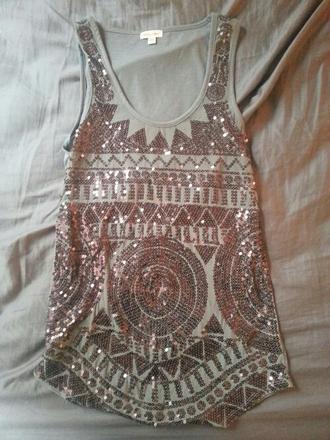 shirt sequin tank top