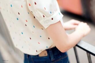 blouse multicolour top rain pastel raindrops white blouse colorful multicolor