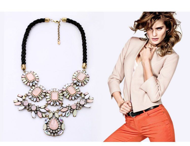 Luxury Party Pink Crystal Flower Braided Rope Women Bib Necklace - DualShine