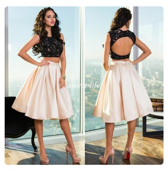 dress black cream lace satin two piece dress set two piece prom dresses prom homecoming pretty knee length