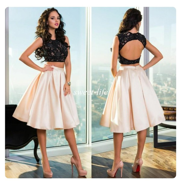 Dress: black, cream, lace, satin, two piece dress set, two piece ...