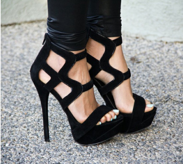 shoes black platform sandal