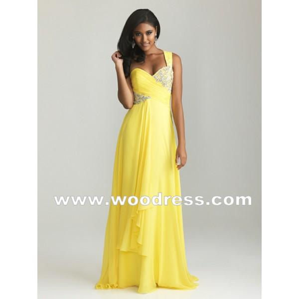 elegante eins Schulter geraffte Empire Taille Gelb abendkleider 2013 Stil 6661