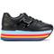 Hogan - maxi h220 sneakers - women - cotton/calf leather/rubber - 36, black, cotton/calf leather/rubber