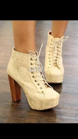 shoes lace lace shoes high heels platform lace up boots white high heels lace up cream wooden heel lace floral pattern heels white shoes white heels laces jeffret campbell shoes white lace up ankle boots
