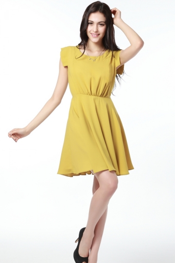 Retro OL Sleeveless Pleated Mustard Dress [FXBI0036]- US$ 63.99 - PersunMall.com