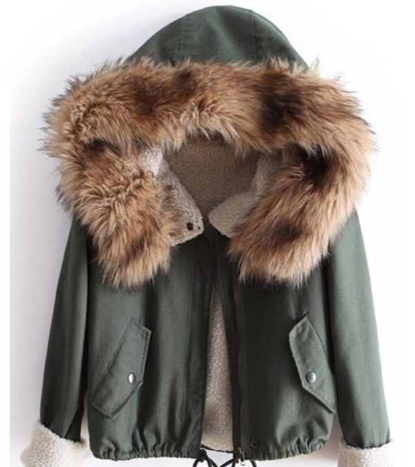 coat green cute girly winter sweater fur jacket army green jacket