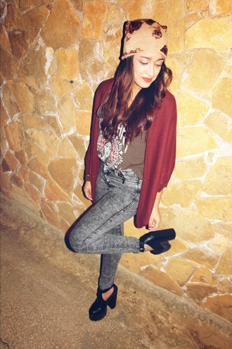shirt obey brown burgundy hat cardigan jeans black high waisted black heels platform shoes asos h&m
