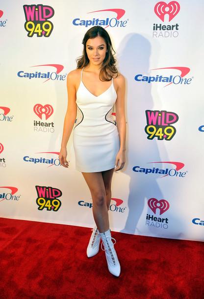 dress mini dress white white dress ankle boots hailee steinfeld