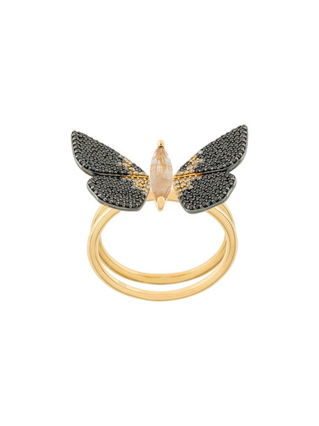 Astley Clarke women ring gold grey metallic jewels