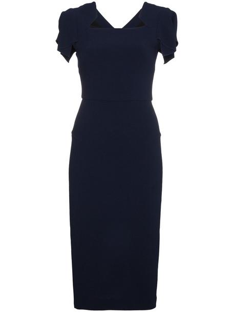 Roland Mouret dress bodycon bodycon dress women spandex blue silk wool