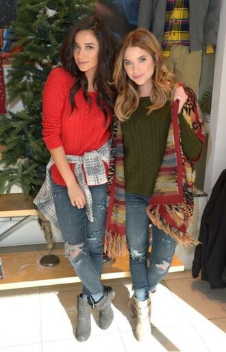 cardigan coat jeans ashley benson shay mitchell fall outfits ankle boots red sweater green sweater poncho shirt plaid shirt ripped jeans blue jeans boots black boots flat boots cream boots celebrity style celebrity tv serial actress