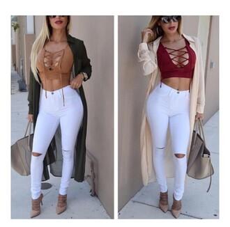 pants lace up top crop tops white pants shirt