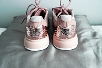 shoes adidas shoes rose metallic shoes sneakers low top sneakers