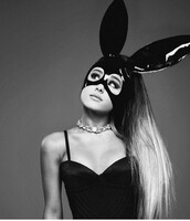 hair accessory,ariana grande,mask,bunny ears,editorial,choker necklace,black,head jewels,jewels,jewel choker,rhinestones