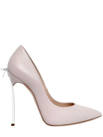 bow pumps leather white blush shoes
