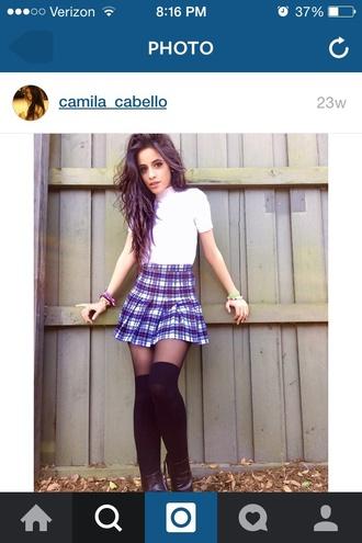 camila cabello top skirt school girl plaid skirt