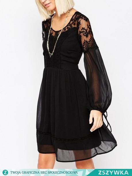 dress black dress boho dress lace dress lace gothic dress boho boho chic  black ribbons see