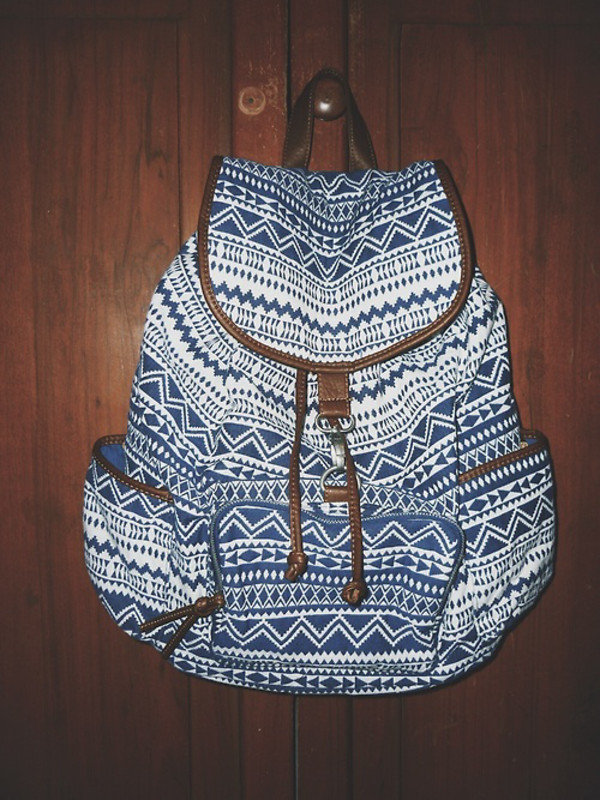 bag tribal pattern backpack blue