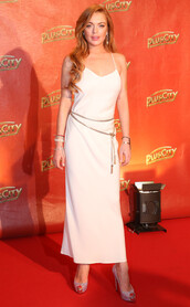 sandals,shoes,glitter shoes,lindsay lohan,white dress