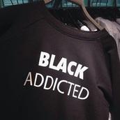 sweater,black sweatshirt,black,sweatshirt,addicted