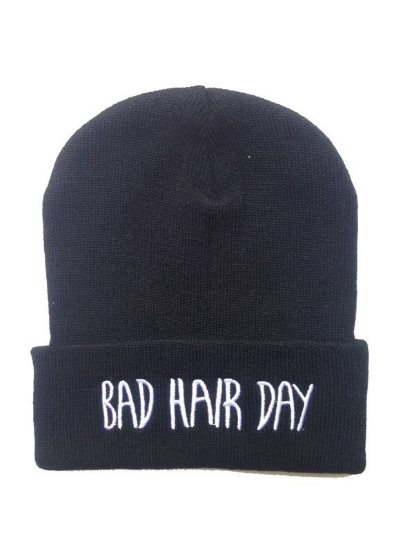 Freeshipping BAD HAIR DAY Beanie most popular  mens knit  skullies Beanies  hats black  cheap online !-in Skullies & Beanies from Apparel & Accessories on Aliexpress.com