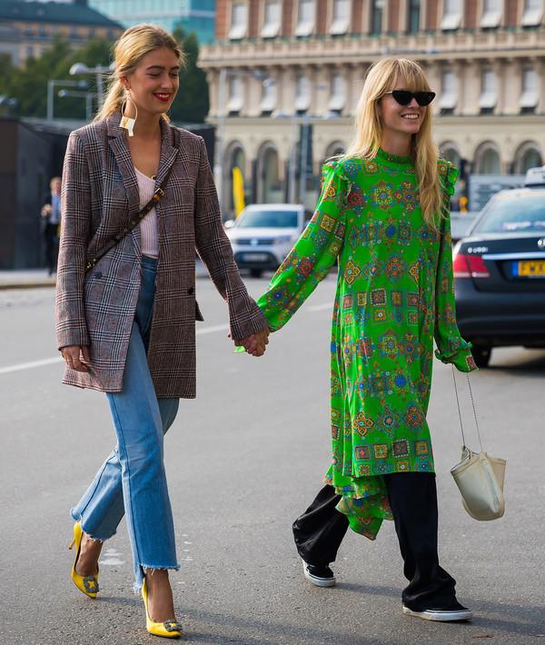 10d4b6a70dbb shoes stockholm fashion week streetstyle pumps manolo blahnik high heels  heels dress green dress midi dress.