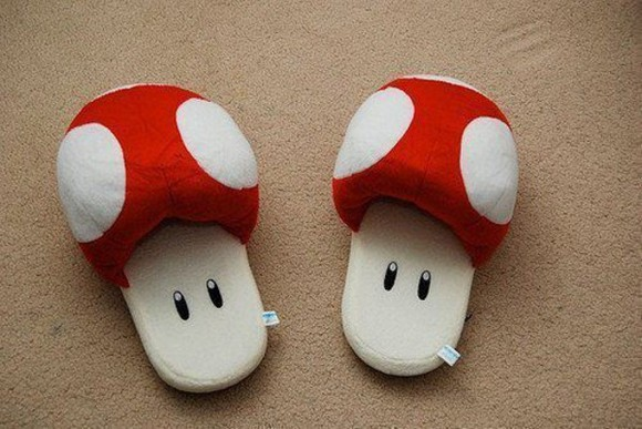 mushroom shoes red cozy mariobross white polka dots slippers