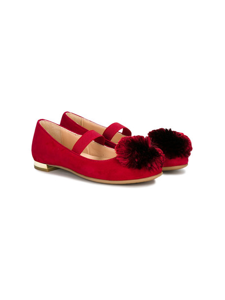 Aquazzura Mini embellished leather suede red shoes