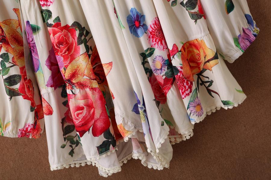 White V Neck Long Sleeve Floral Loose Jumpsuit - Sheinside.com