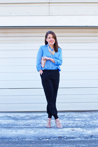 sequins and stripes blogger blue shirt statement necklace black pants