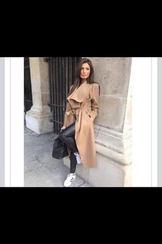 blogger camel coat leather pants adidas shoes