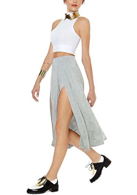 Women's elastic waist front slit slim fit long skirts online