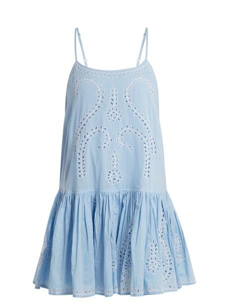 dress embroidered cut-out cotton paisley light blue light blue