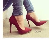 shoes,heels,pumps,high heels,pointed toe pumps,stilettos,sexy shoes,nubuck,classic pump,wine,women's heel,classy