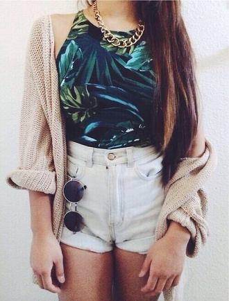 shorts t-shirt jewels jacket sunglasses palm tree print shirt leaves floral green black sleeveless halter top crop tops