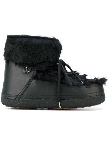 INUIKI fur fox women lace leather black shoes
