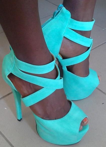 Cute glam high heels gladiator sexy 14 cm green grass blue platform